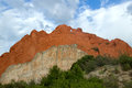 The kissing camels landmark at garden of the gods with cloudy skies Royalty Free Stock Images