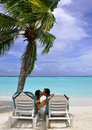 Kissing couple on beach Royalty Free Stock Photo