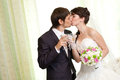 Kissing couple with champagne Royalty Free Stock Photography