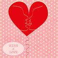 Kissing couple in love heart valentines day greeti greeting card trendy retro colors romantic relationship abstract style concept Royalty Free Stock Photography