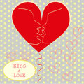 Kissing couple in love heart valentines day greeti greeting card trendy retro colors romantic relationship abstract style concept Royalty Free Stock Images