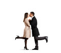 Kissing couple in love over white background Royalty Free Stock Photography