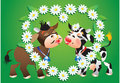 Kissing Cows and camomile border Stock Photo