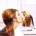 Kissing a cute kitten The perfect gift Royalty Free Stock Photos