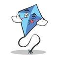 Kissing face blue kite character cartoon