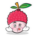 Kissing face lychee cartoon character style
