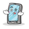Kissing face smartphone cartoon character