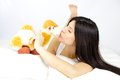 Kissing my best friend who will never betray me woman camel plush not thinking about betrayal Stock Image