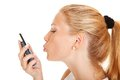 Kissing phone Royalty Free Stock Photo