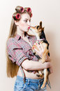 Kissing puppy beautiful blond young woman pin up sexy girl with curlers on her head having fun with little funny dog portrait in Stock Photo
