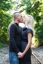 Kissing Upon the Railroad Tracks Stock Photos
