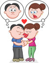 Kissing with unhappy thoughts cartoon man and woman Royalty Free Stock Image
