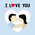 Kissing you boy and girl are card for lover Stock Photos