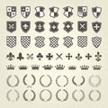 Kit of coat of arms for knight shields and royal emblems Royalty Free Stock Photo