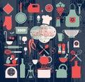 Kitchen abstact icons set Royalty Free Stock Photo