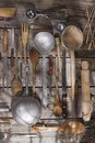 Kitchen accessories old and various for the preparation of food Stock Images