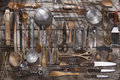 Kitchen accessories old and various for the preparation of food Royalty Free Stock Photos