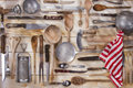 Kitchen accessories old and various for the preparation of food Royalty Free Stock Photo