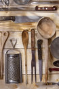Kitchen accessories old and various for the preparation of food Royalty Free Stock Images