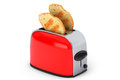 Kitchen appliance toast popping out of vintage red toaster on a white background Stock Image