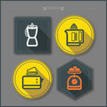 Kitchen appliances house related objects from left to right blender juicer toaster scale dotted vector icons set with transparent Stock Photos