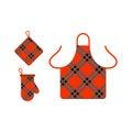 Kitchen apron and potholder vector illustration.