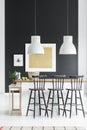 Kitchen with black bar stools Royalty Free Stock Photo
