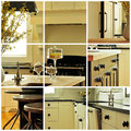 Kitchen cabinet collage of various images of cabinetry Royalty Free Stock Photos