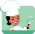 Kitchen Chef Cartoon Illustration of Woman holding Royalty Free Stock Photo