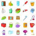 Kitchen cleaning icons set, cartoon style