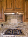 Kitchen cooktop and cabinets front view Royalty Free Stock Images