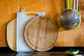 Kitchen cutting boards with other objects Royalty Free Stock Photos