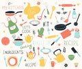 Kitchen doodle vector icon set. For modern recipe card template set for cookbook. Royalty Free Stock Photo