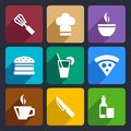 Kitchen flat icons set food and tools for web and mobile applications Royalty Free Stock Photography