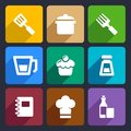 Kitchen flat icons set food and tools for web and mobile applications Royalty Free Stock Images
