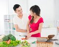 Kitchen flirt Stock Photo