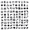 Kitchen and food icon vector black set on white Royalty Free Stock Photo
