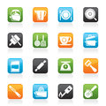 Kitchen gadgets and equipment icons vector icon set Stock Photo