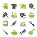 Kitchen gadgets and equipment icons vector icon set Stock Image