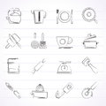 Kitchen gadgets and equipment icons vector icon set Royalty Free Stock Photo