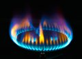 Kitchen gas burner flame stove for cooking blue flames Royalty Free Stock Images