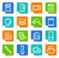 Kitchen home appliances on stickers Stock Photo
