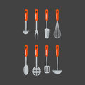 Kitchen home culinary equipment flat vector illustration. Royalty Free Stock Photo