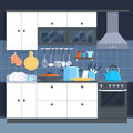 Kitchen home interior with oven and kitchenware vector illustration