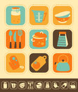 Kitchen icon set of icons color and monochrome version Stock Image
