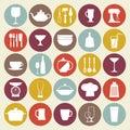 Kitchen icons set 免版税库存图片