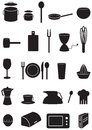 Kitchen icons set, black silhouettes on white Royalty Free Stock Images