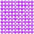 100 kitchen icons set purple