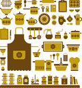 Kitchen illustrations a set of of tools cookware and related items with flowers Royalty Free Stock Photos