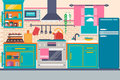 Kitchen interior with furniture, utensils, food and devices. Including fridge, oven, microwave, kettle, pot. Vector illustration